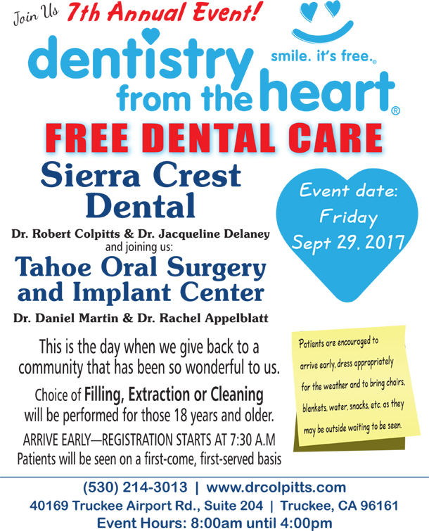 Dentistry from the Heart in Truckee Lake Tahoe 2017 dates